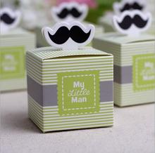 30pcs My little Man Cute Mustache Birthday Boy Baby Shower Favor boxes and bags wedding souvenirs wedding favors and gifts(China (Mainland))