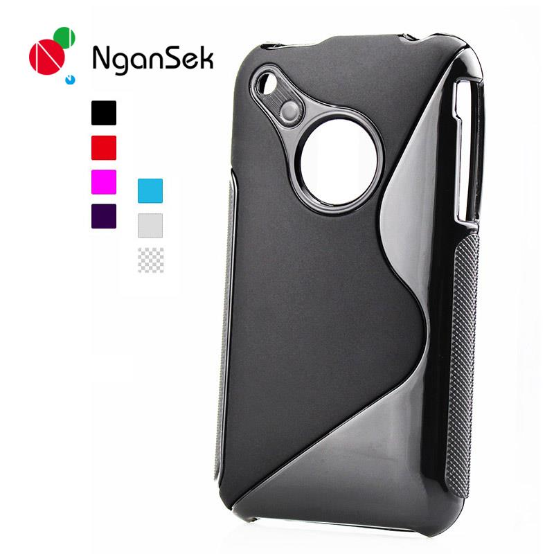 8colors.soft TPU S line clear silicon cover case for Iphone 3(China (Mainland))