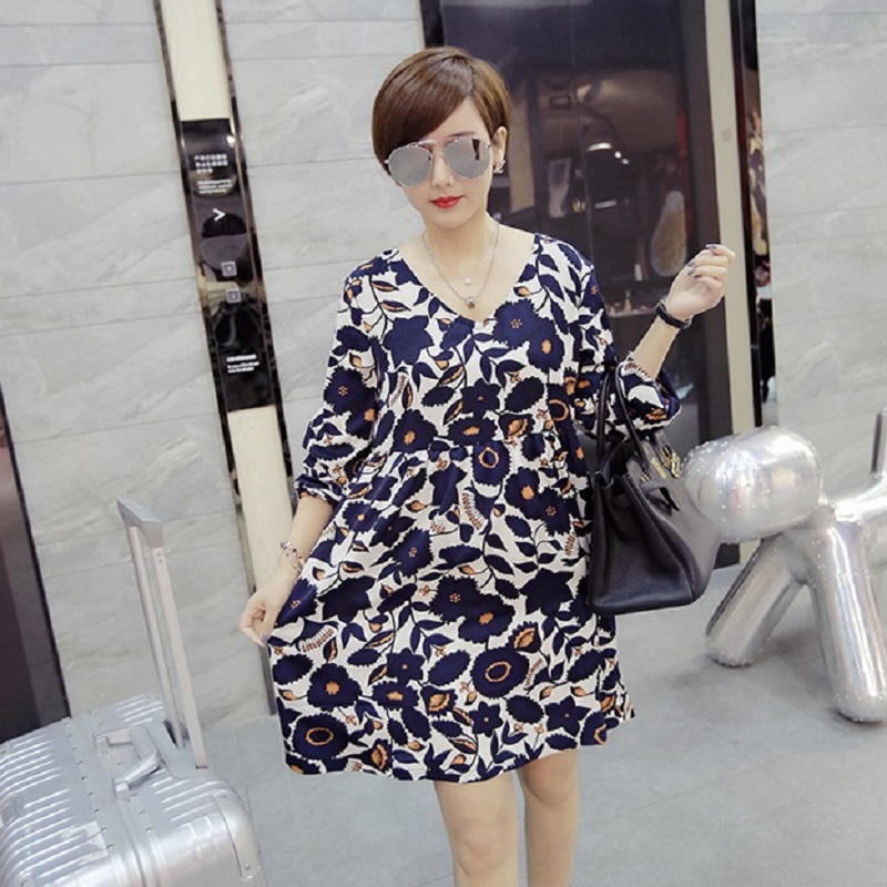 2016 new spring and summer font b maternity b font dresses print plus size women s
