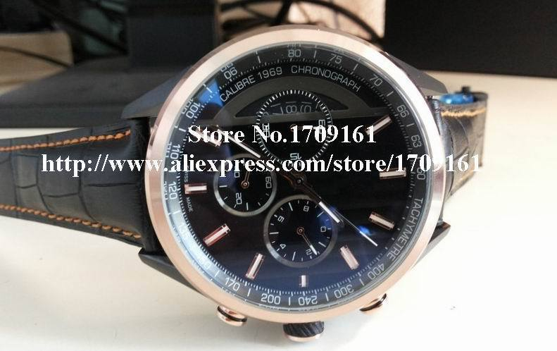 2015 New Products Mens Chronograph Watch Men Black Pvd Gold Bezel 100 Men's Sports Leather Watches(China (Mainland))