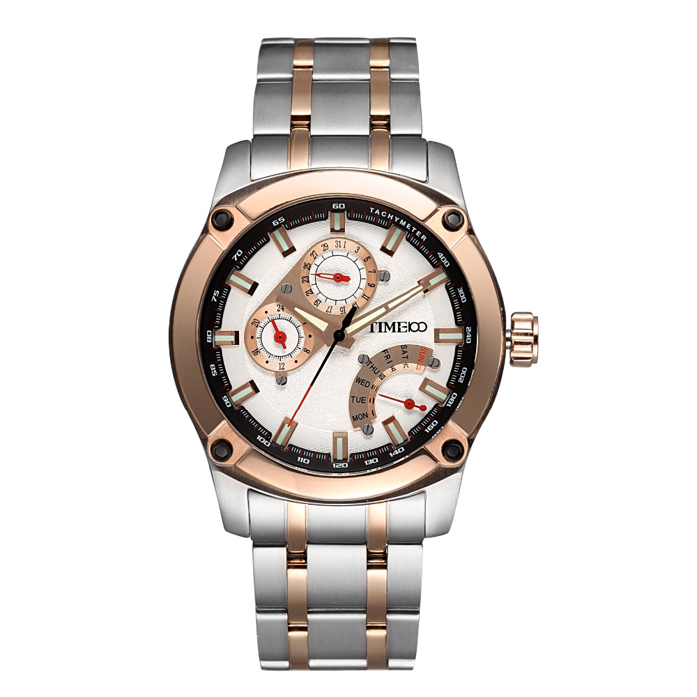 TIME100 Original Unique Chronograph Men Watches Stainless Steel Strap Auto Date Luminous Sport Casual Men Wrist Watches Clock(China (Mainland))