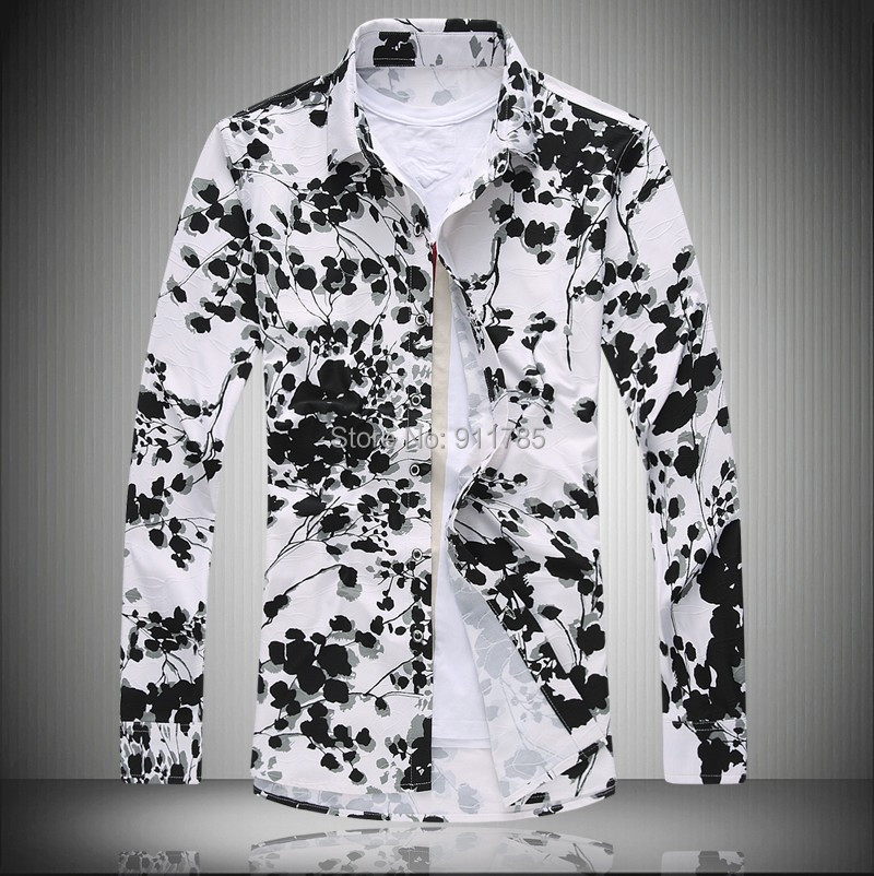 2016 autumn mercerized flowers printed shirts men loose for Printed shirts for men