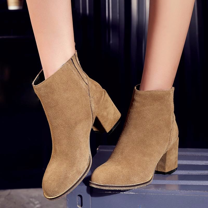 2016 Genuine Leather Women Boots Slip On Fall Winter Boots Cozy Thick Heels Shoes Woman High Quality Female Footwear