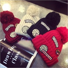 2015  Fashion  Europe  Personality  Casual   Winter Warm   Patch Letter   Wool Ball  Hats For  Women   Beanie Hat   Gorros(China (Mainland))