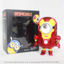 Free Shipping Anime Cartoon Despicable Me 2 Minion PVC Action Figure Toy Doll Iron Man Style 8″20cm IM027