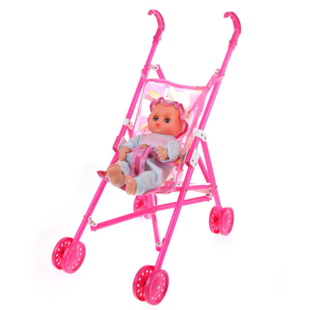 New Dolls Buggy Stroller Pram Foldable Girls Pushchair Toy Doll Pram Baby Doll(China (Mainland))