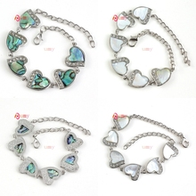 UMY Wholesale Elegant Natural Abalone Shell Cute Heart Shape Silver Plated Beads Bracelet Fashion Jewelry Fit For Lovers(China (Mainland))