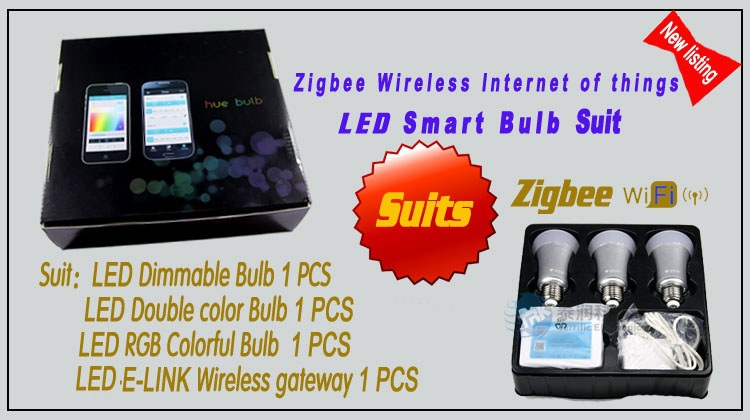 Smart lighting Full colors e27 rgbw led zigbee light bulb same as Hue bulb System free shipping(China (Mainland))