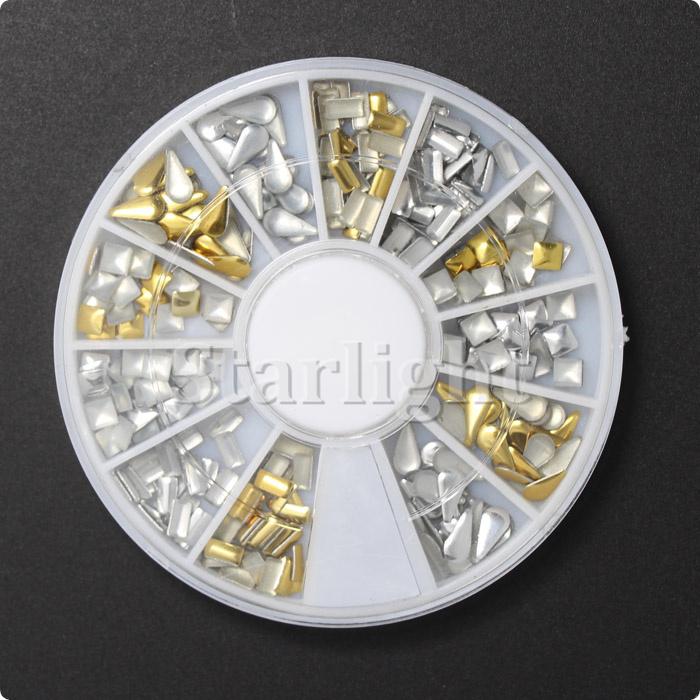12 Style 3D Design Nail Art Tips Rhinestone & Decoration Metallic Studs Gold Silver Stud Wheel Tool For Beauty & Health(China (Mainland))