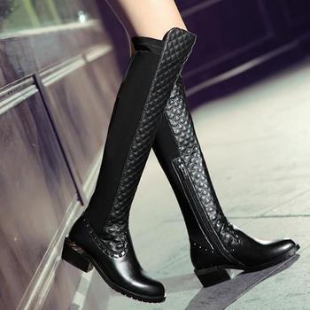 Новый более-сапоги туфли на высоких каблуках зима мода сексуальное тепло долго женщины из натуральной кожи ботинок дамы мотоцикл ботинки