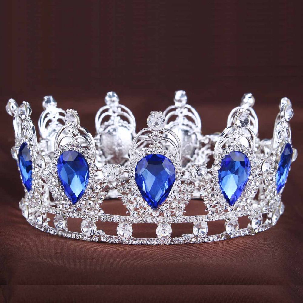 2016 King/Queen Crown for wedding party rhinestone Crown crystal crown Water Drop Tiaras Gold/Silver Plated Wedding Crown(China (Mainland))