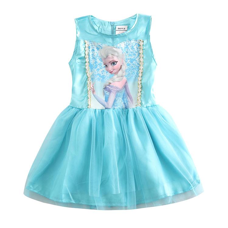 Girl dress sleeveless summer style Elsa dress 2015 fashion girl princess party dress tutu brand novatx kids girl clothes bow(China (Mainland))