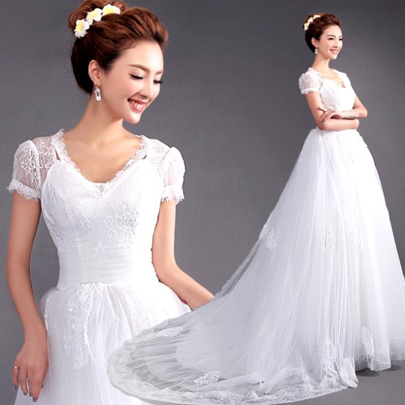 Lace Wedding Dress With Cap Sleeves Style D1919 : New style white v neck cap sleeve lace up bridal gown fashion wedding