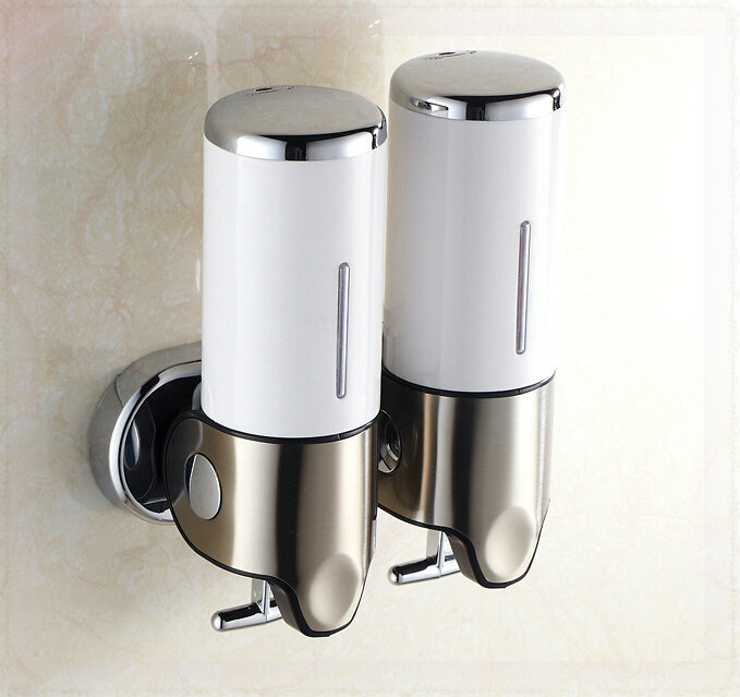Wall Mounted Double Lotion Dispenser Bathroom Shampoo Soap Box Wall Mount Sensor Faucet In
