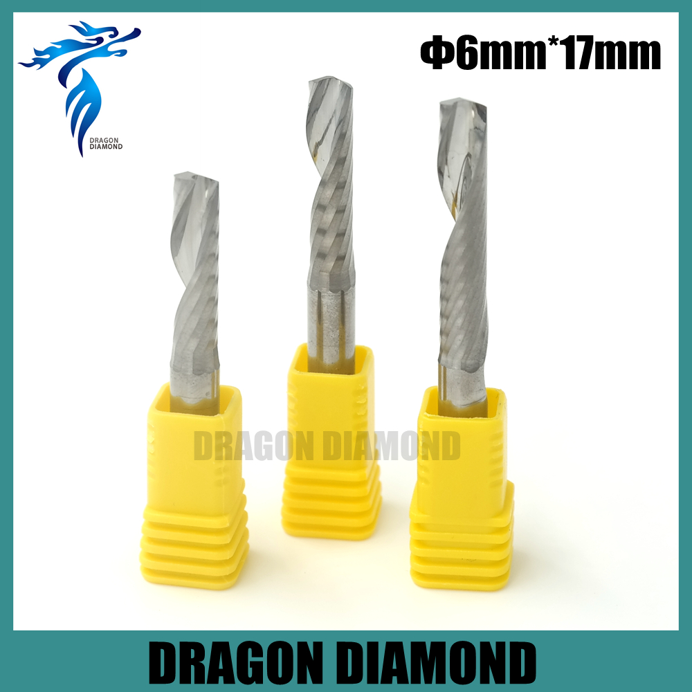 Hot Selling 5 pcs 6*17MM Single Flute Spiral Tungsten Steel Carbide Mill, Carving Bits, CNC Cutting Tools, Wood CNC Router Bits(China (Mainland))