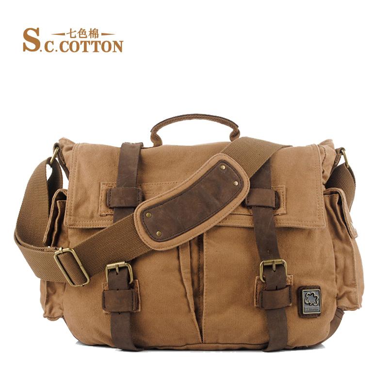 S.C.COTTON Multi Function Vintage Canvas Leather Business Tote Bag Travel Shoulder Messenger Bag ...
