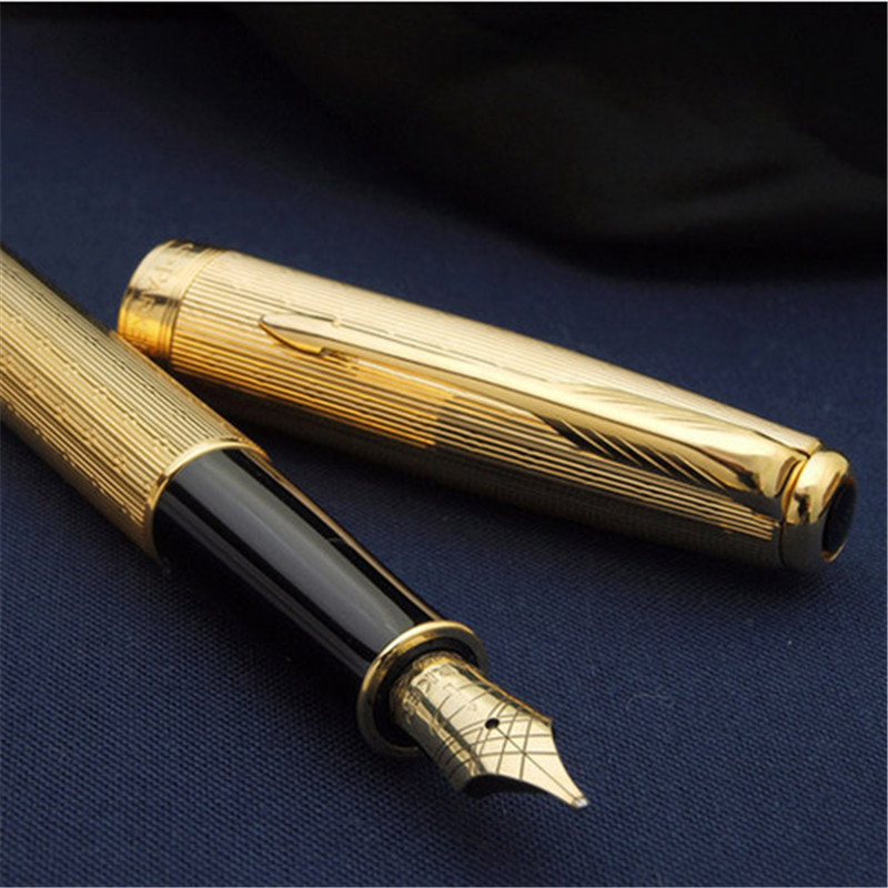 1pcs/lot Parker Pen Sonnet Fountain Pen Full Flower Engraving Gold Fountain Pens Brand Luxury Pens Stationery Caneta 13.3*1.3cm<br><br>Aliexpress