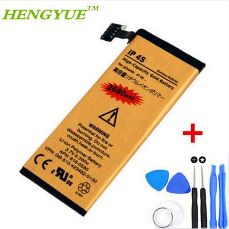 Original HENGYUE 2680MAH Li-ion Gold Replacement Battery for iPhone 4S internal Batteries with 7 in1 Repair Tools(China (Mainland))