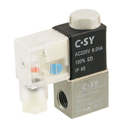 High quality AC220V 2V025 Electromagnetic 2 Position 2 Way Solenoid Valve Free shipping(China (Mainland))