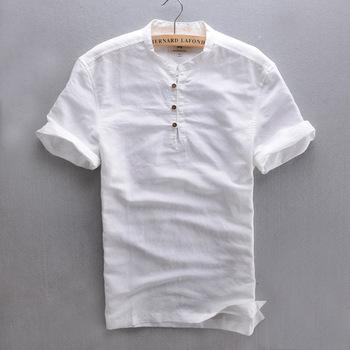 2015 3XL New Arrive Handsome Men's Summer Linen Shirt Solid Slim Fit Casual Short Shirt Mandarin Collar Thin ShIrt For Male