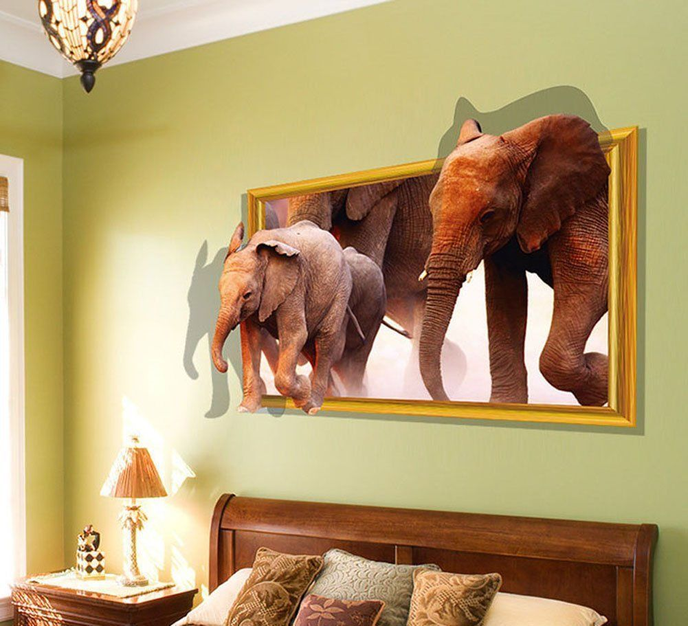 Cute Elephants Animal Removable 3d Visual Diy Wall Stickers Home Decor Bedroom Living Room Decal Vinyl