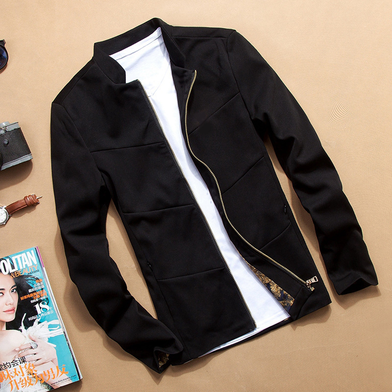 2016 Casaco Masculino Solid Slim Zipper Plus Size Fashion Men Jacket Casual Black Brand Clothing Men's Jackets Spring And Autumn(China (Mainland))