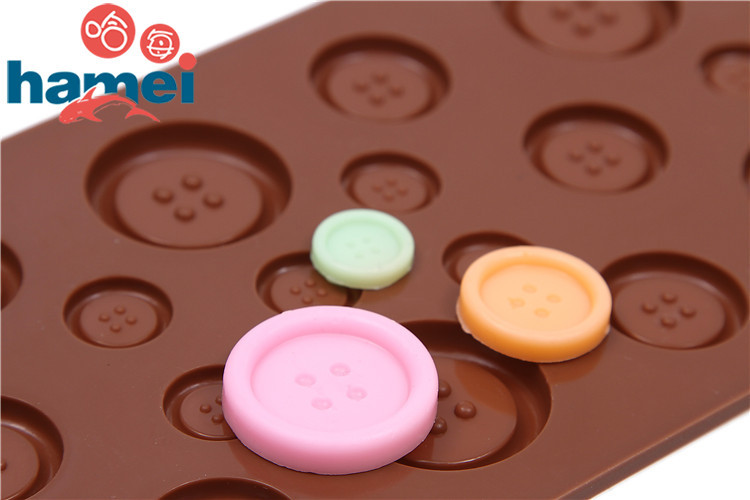 Lovely Design Cake Cookie de para Fondant Chocolate Silicone Gel cookies Mould Baking Tray Button Shape Cake Decoration mold(China (Mainland))