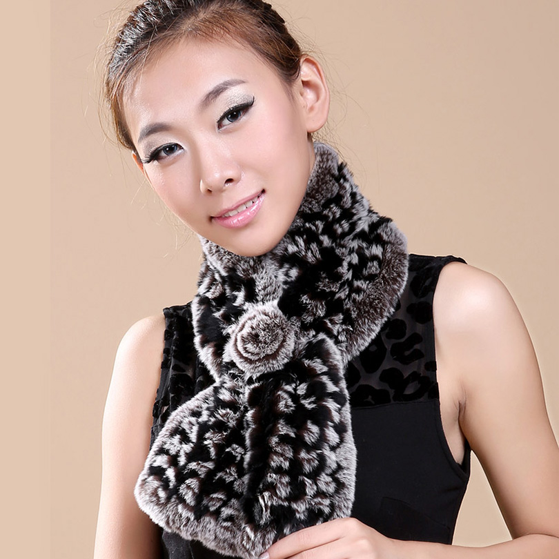 Winter Scarf For Women Knit Rex Rabbit Fur Luxury Brand Lencos e Echarpes Foulard Femme Fur Cachecol Floral Designer Scarve(China (Mainland))