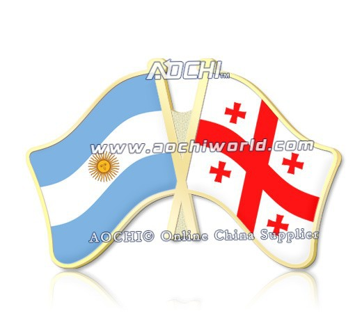 Best Selling Mix and Match Argentina and Georgia Crossed Flags Lapel Pins(China (Mainland))
