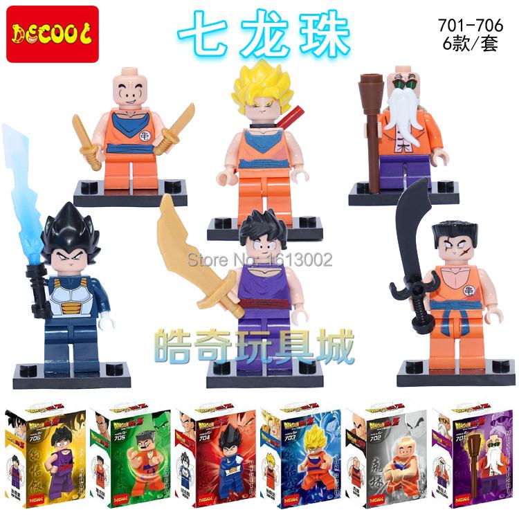 Детское лего Decool 701/706 Z MiniFigures Vegeta Yamcha MiniFigures 701-706 детское лего elephant minifigures 16 diy jx1001 1002