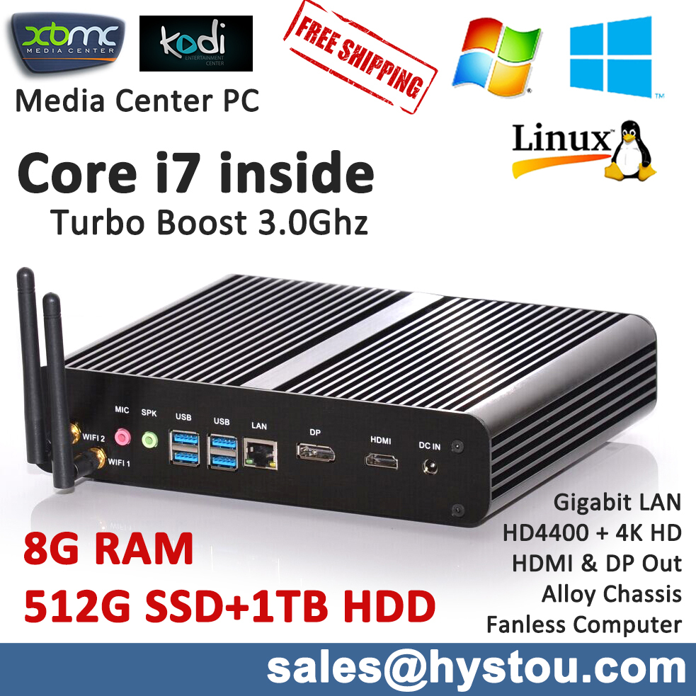 Book-sized High Grade Fanless Mini PC Computer Intel Haswell Core i7 8G RAM 512G SSD 1TB HDD 2 storage HD5000 Graphics 4K Output(China (Mainland))