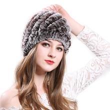 WISSTT mujer de sombrero de piel 100% Natural Rex Rabbit Fur Cap sombreros de punto para las mujeres de invierno Beanies caliente piña cap(China)