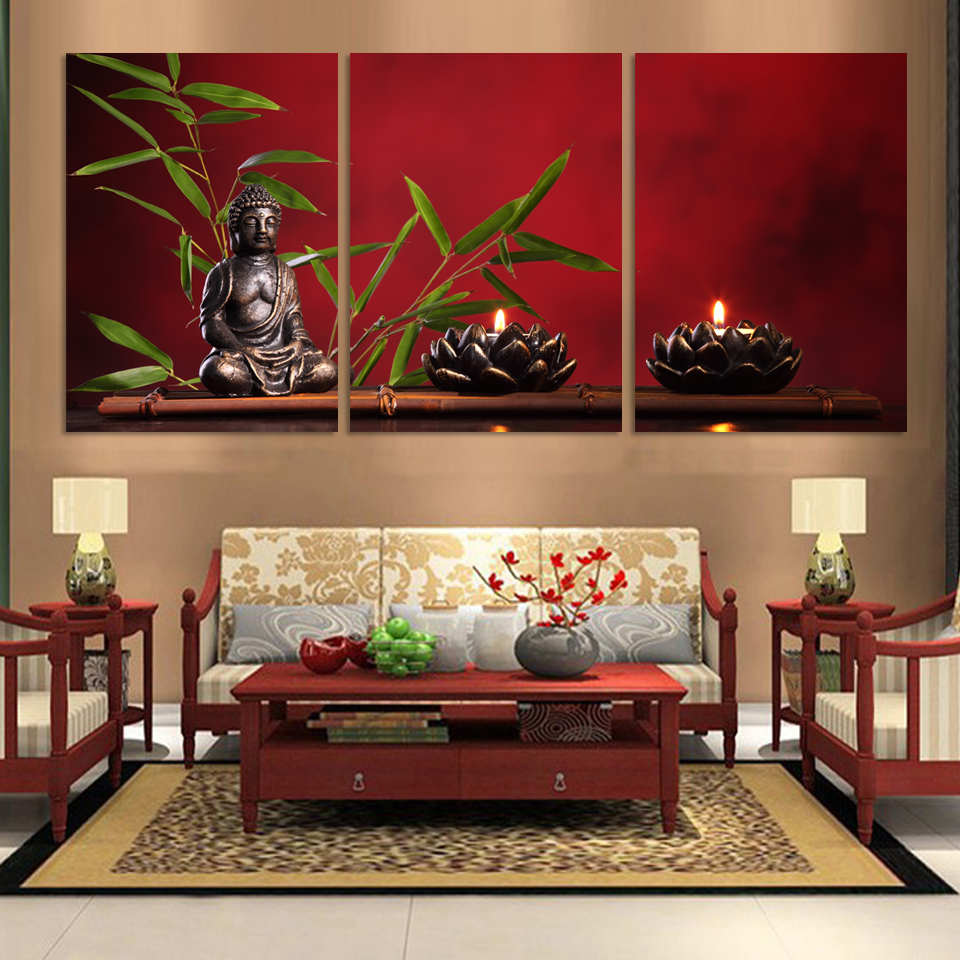 3pieces/set Large Buddha Painting Decor Arts Printed Canvas frame FX031 - OUYA HOME DECORATION PAINTING store