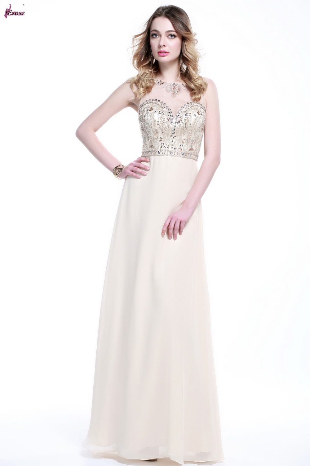 A Line Fashion Evening Gown Couture Beaded Top Long Chiffon Vestido Pra Festa 2015 abendkleid RE-014(China (Mainland))