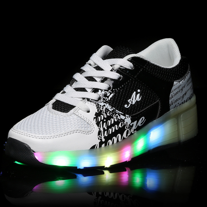 Children Heelys Wheels Shoes Led Light New Brand Kids Roller Skate Sneakers Boys Girls Luminous Glowing Fashion 9122 - Allin Store store