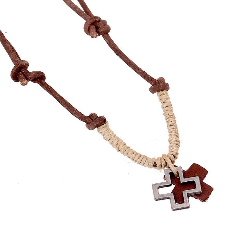 Handmade Vintage Cross Pendant Necklace Men Punk Genuine Leather Chain Rope Necklaces Pendant Fine Women Jewelry Bijoux Gifts