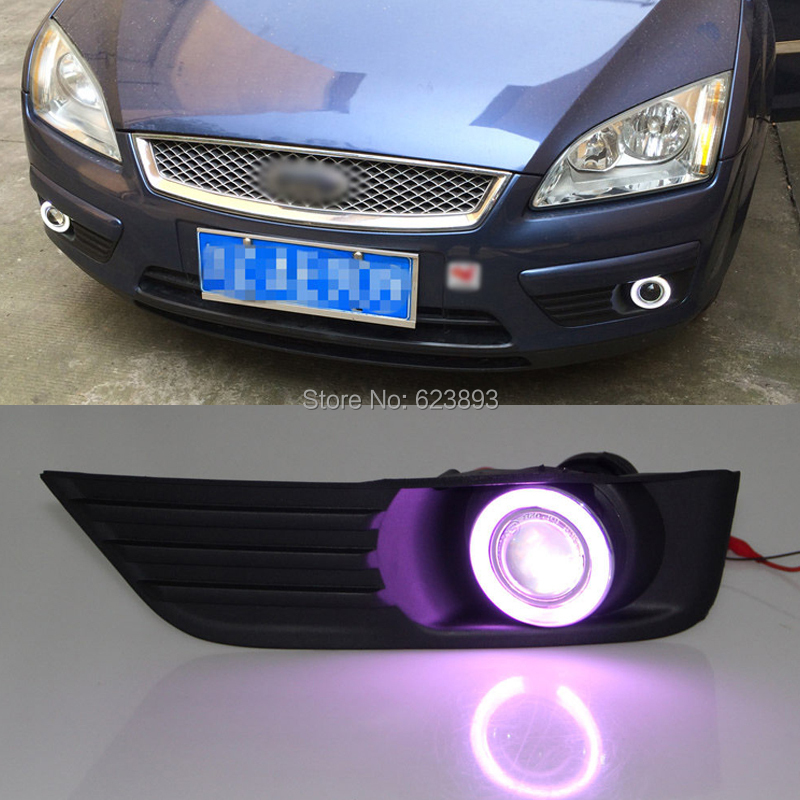 Car styling Fit Ford Focus 2005-2006 LED Daytime Running Lights DRL Projector Lens Fog lights + Angel Eyes Kit(China (Mainland))