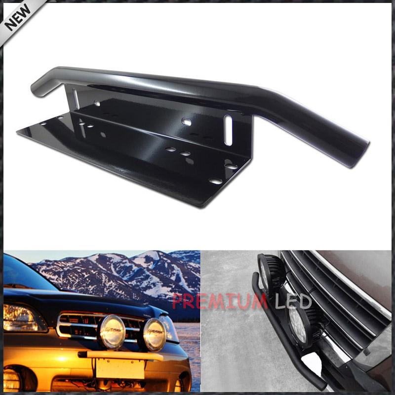 1pc Bull Bar Style Front Bumper License Plate Mount Bracket Holder For Off-Road Lights, LED Work Lamps (Black, Universal Fit)