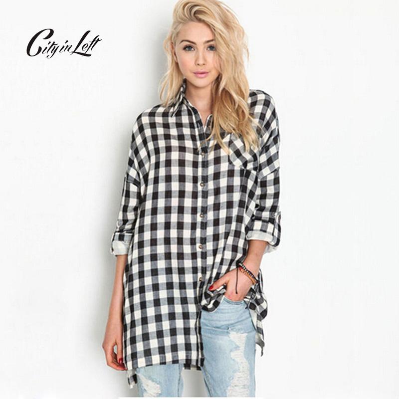 Buy 2016 Women Black White Plaid Shirt