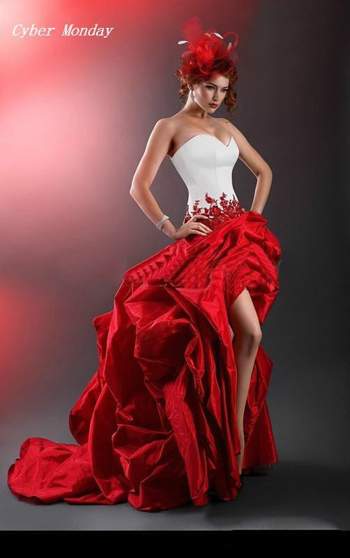 Popular bridal gown red buy cheap bridal gown red lots for Where to buy red wedding dress