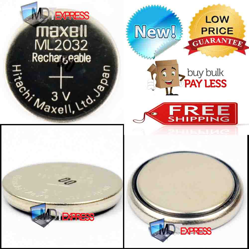 New! 3V Rechargeable Maxell ML2032 CMOS BIOS RTC Back Reserve Button Coin Cell Battery