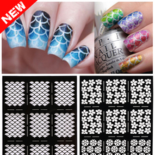 2016 New 1sheet Nail Vinyls Irregular Grid Pattern Stamping Nail Art Tips Manicure Stencil Nail Hollow Stickers Guide(China (Mainland))