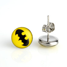 2016 New Hot Sell 18 Pairs 10mm Yellow Batman Symbol Stainless Steel Stud Earring,Earring boucle d'oreille pusety oorbellen(China (Mainland))