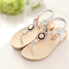 2016 Summer Girls Sandals Rhinestone Princess Dress Shoes Flip Flops With Elastic Band Beach Sandals PU Leather Shoes Size 26-36(China (Mainland))