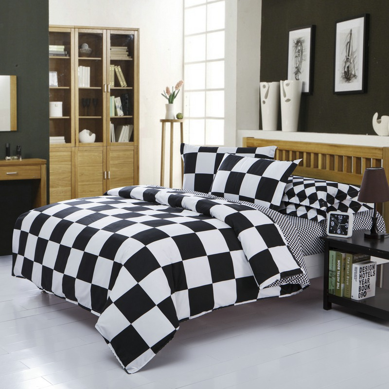Classical black and white cotton Bedding set home textile bed linen Duvet cover Bedclothes ,Twin/Full/Queen/King Size(China (Mainland))