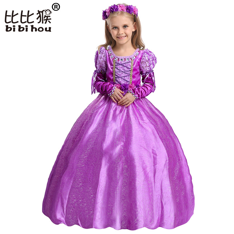 Gloves + Garland Princess Girl Dress Costumes Belt Kids Frock Designs Dresses Costume Girls Christmas Birthday Party Cosplay(China (Mainland))