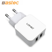 Ldnio 5V 2.4A Smart Travel Dual USB Charger Adapter Wall Portable EU Plug Mobile Phone Charger for iPhone Samsung Xiaomi Tablet(China (Mainland))