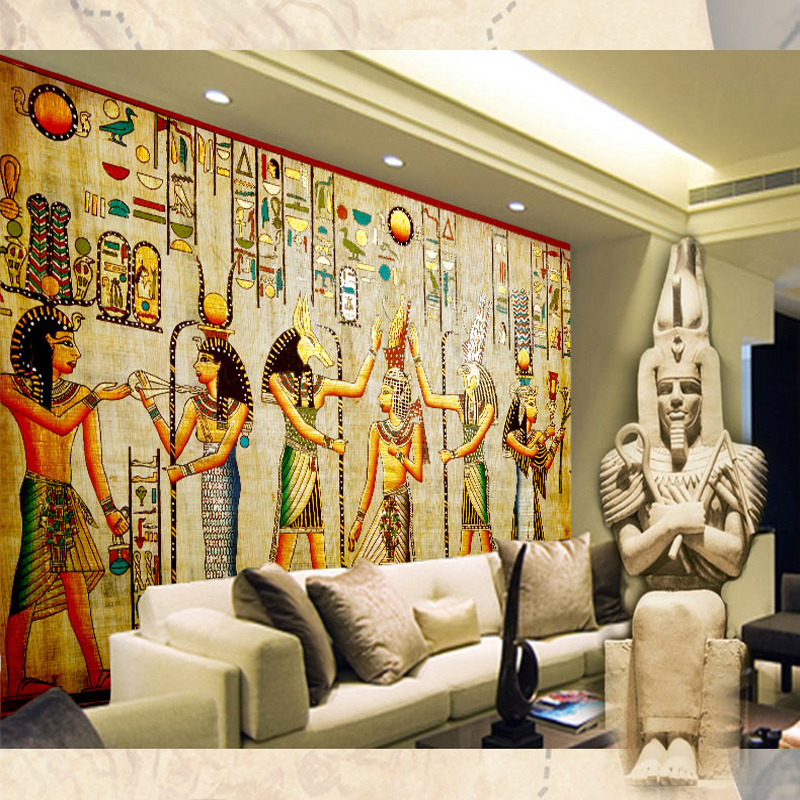 Wholesale 3d fresco wallpaper mural of ancient times egypt for Egyptian mural wallpaper