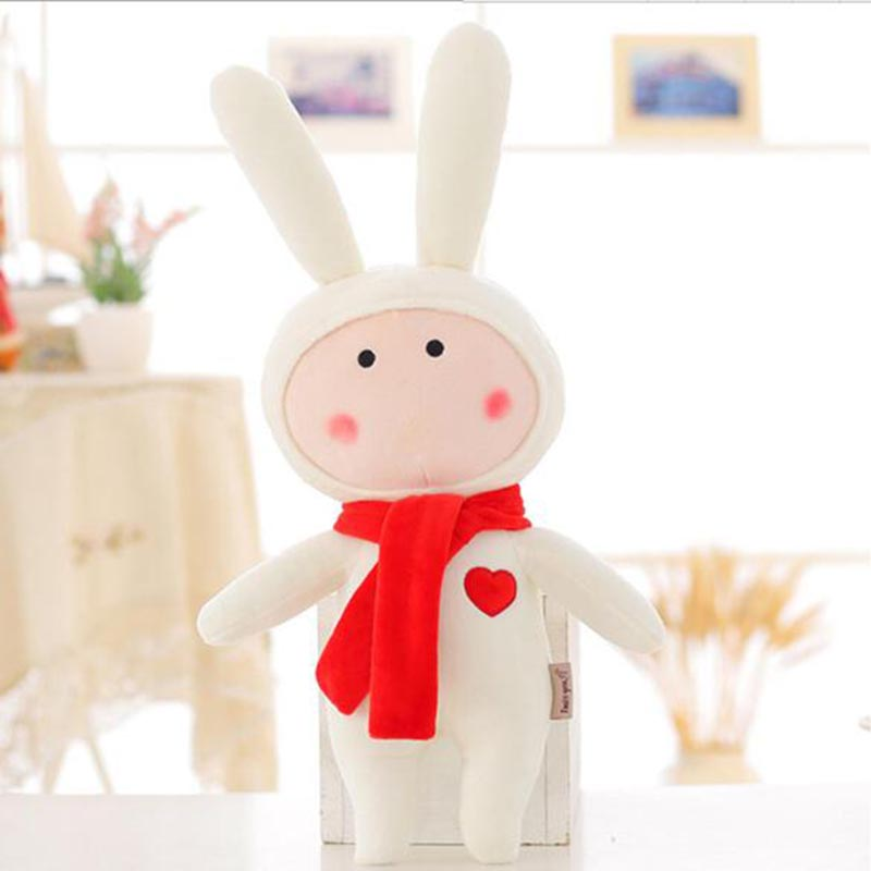 35cm 50cm Stuffed Toy White Rabbit With Red Scarf Plush Animals Kawaii Kids Children Plush Toys Birthday Gift Toys Soft For Kids(China (Mainland))