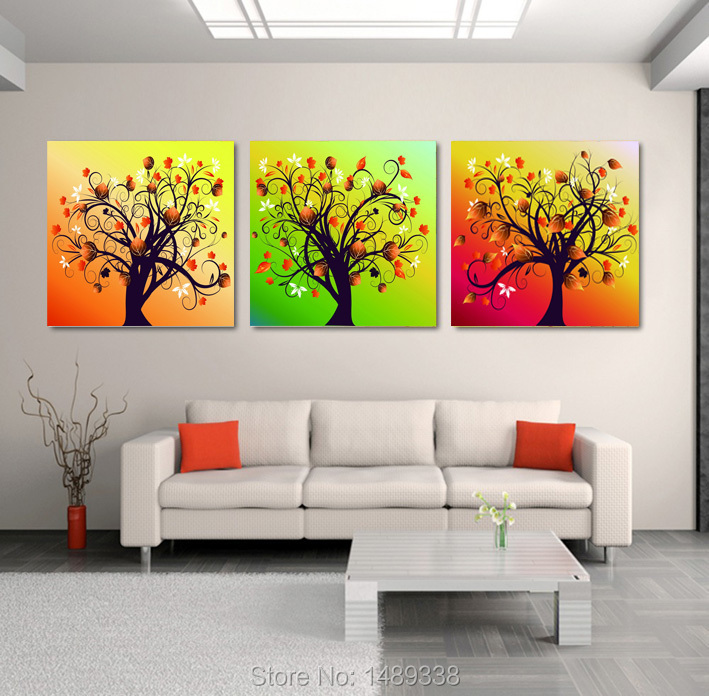Framed High Quality Modern Printed On Canvas 3 Piece Tree